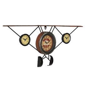 Ceas design de perete - Model 20 Avion antic, metal,sticla, plastic, MDF, multicolor