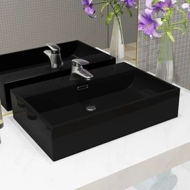 Chiuvetă baie, orificiu robinet, ceramică 76x42,5x14,5 cm negru