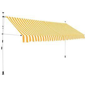 Copertină retractabilă manual, 350 cm, dungi galben și alb