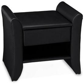 Corium® Noptiera eleganta din imitatie de piele - 47x37x44cm - negru