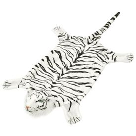 Covor din pluș cu model tigru, 144 cm, alb