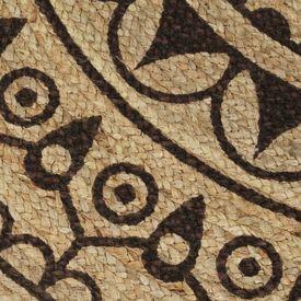 Covor manual cu imprimeu maro închis, 150 cm, iută