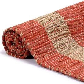 Covor manual, roșu, 160 x 230 cm, iută