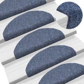 Covorașe autocolante de scări, 15 buc, 65 x 21 x 4 cm, albastru
