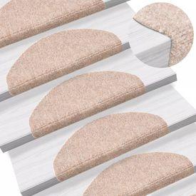 Covorașe autocolante de scări, 15 buc, 65 x 21 x 4 cm, maro