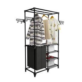 Cuier haine, Oțel și textil nețesut, 87x44x158 cm Negru