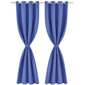 Draperii opace cu ocheți metalici, 2 buc, 135x175 cm, albastru