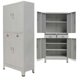 Dulap de birou cu 4 uși, oțel, 90 x 40 x 180 cm, gri