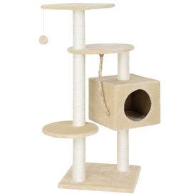 [en.casa]® Mobila pisici - Sisal pisici - MDF,plus, fibra sisal, crem cu culcus si jucarii