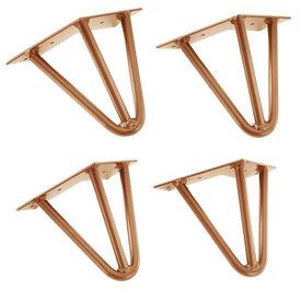 [en.casa]® Set 4 bucati picioare Hairpin Model 6, pentru masa – 3 brate, 15 cm, aramiu