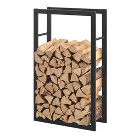 [en.casa]® Stove Suport lemne pentru sobe si seminee AAFR-6602, 40 x 100 x 25 cm, otel, negru
