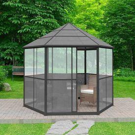 Foișor de grădină, gri, aluminiu, hexagonal