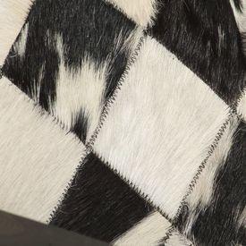 Fotoliu, alb și negru, 61 x 70 x 74 cm, piele naturală