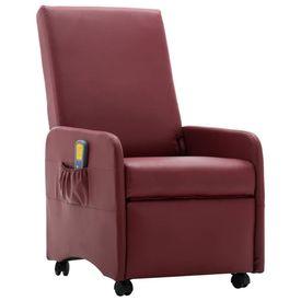 Fotoliu electric de masaj rabatabil, roșu vin, piele ecologică