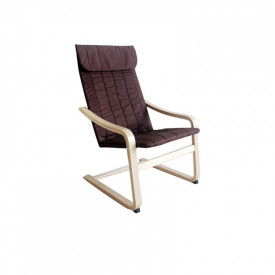 Fotoliu relaxant lemn de mesteacan/material maro GL TORSTEN