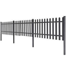 Gard cu ţăruşi, WPC, 3 buc, 6 m lungime 60 cm înălțime, gri