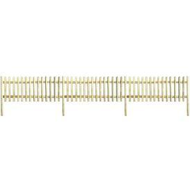Gard țăruși, cu stâlpi, lemn pin tratat, 5,1 m, 170 cm, 5/7 cm