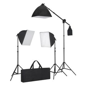 Kit studio foto cu iluminare softbox și masă foto