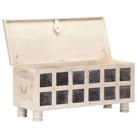 Ladă de depozitare, alb, 110x40x45 cm, lemn masiv de acacia