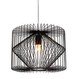 [lux.pro]® Lampa suspendata design decorativ Oklahoma - Ø:26 x 35 cm, negru (1 x E27)