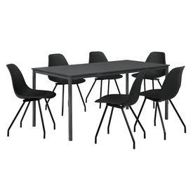 Masa bucatarie/salon design elegant (160x80cm) - cu 6 scaune negre elegante