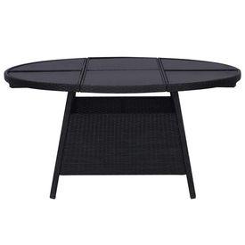 Masă de grădină, negru, 150x74 cm, poliratan