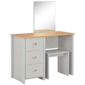 Masă de toaletă cu oglindă și taburet, gri, 104x45x131 cm