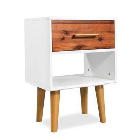 Noptieră din lemn masiv de acacia, 40 x 30 x 45 cm