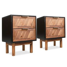 Noptiere 2 buc, lemn masiv de acacia, 40 x 30 x 53 cm