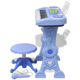 Orgă pentru copii cu scaun/microfon, 37 Clape, Albastră