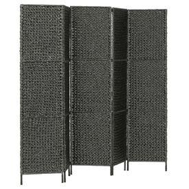 Paravan cameră cu 5 panouri, negru, 193x160 cm, zambilă de apă