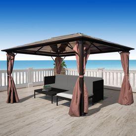 Pavilion cu perdea, maro, aluminiu, 400 x 300 cm