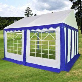 Pavilion de grădină PVC 3 x 4 m, Albastru și Alb