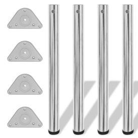 Picioare de masă reglabile, Crom, 710 mm, 4 buc.