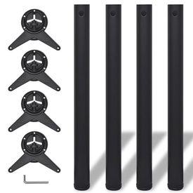 Picioare de masă reglabile, Negre, 710 mm, 4 buc.