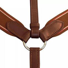 Pieptar elastic din piele, cu atașament martingală reglabil, maro