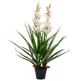 Plantă artificială Orhidee Cymbidium cu ghiveci 100 cm verde