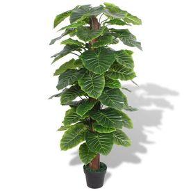 Plantă artificială Taro cu ghiveci, 145 cm, verde
