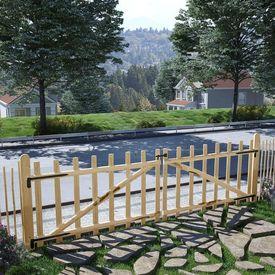 Poartă dublă de gard, lemn de alun 300 x 90 cm