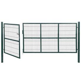 Poartă gard de grădină cu stâlpi, 350 x 140 cm, oțel, verde