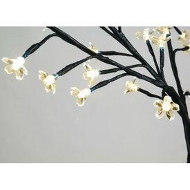 Pom Crăciun, LED-uri lumină albă caldă, flori de cireș, 180 cm
