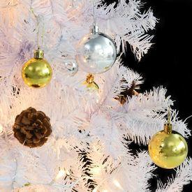 Pom de Crăciun artificial decorat cu globuri și LED 150cm alb