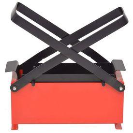 Presă de bricheți din hârtie, oțel, 34x14x14 cm, negru și roșu