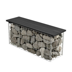 [pro.tec]® WPC Gabion banca HTGB-6731- decoratie cos piatra 100x30x45cm, metal/WPC, negru