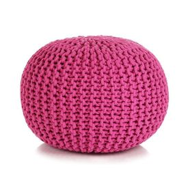 Puf tricotat manual, bumbac, 50 x 35 cm, roz