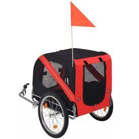 Remorcă bicicletă pentru câini, roșu și negru