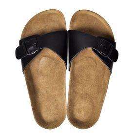 Sandale unisex din plută bio, 1 curea cu cataramă, mărime 37, negru