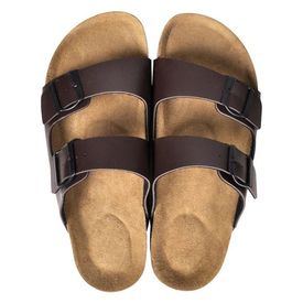 Sandale unisex din plută bio, 2 curele cu cataramă, mărime 44, maro