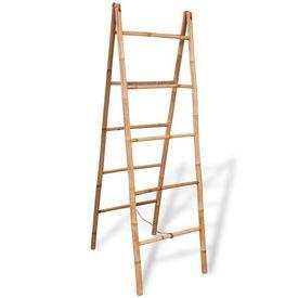 Scară dublă pentru prosoape cu 5 trepte din bambus 50 x 160 cm