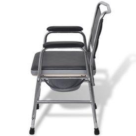 scaun cu toaletă din oțel, negru